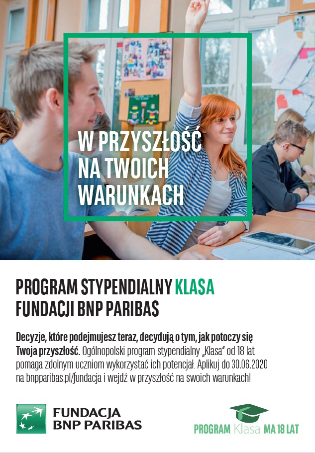 "Program stypendialny ""Klasa"" Fundacji BNP Paribas."