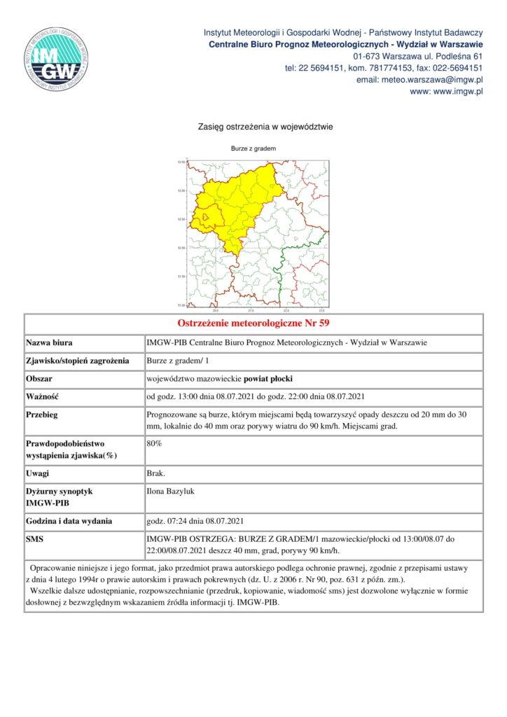 IMGW-PIB OSTRZEGA: BURZE Z GRADEM/1 mazowieckie/płocki od 13:00/08.07 do 22:00/08.07.2021 deszcz 40 mm, grad, porywy 90 km/h.